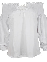 cheap -Women's Cotton Shirt - Solid Colored Boat Neck