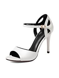 preiswerte -Damen Schuhe Leder Sommer Pumps High Heels Stöckelabsatz Weiß / Schwarz