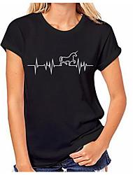 abordables -Mujer Vintage Borla Camiseta Un Color / Geométrico Blanco y Negro