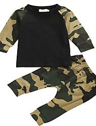 Недорогие -малыш Мальчики На каждый день Повседневные Геометрический принт Длинный рукав Обычный Обычная Хлопок / Спандекс Набор одежды Военно-зеленный 80 / Дети (1-4 лет)