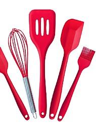 Недорогие -5pcs / set силиконовые кухонные принадлежности для выпечки печенья скребок здоровое масло щетки шпатели бытовая силиконовая посуда