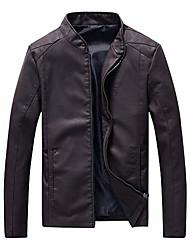 Недорогие -Муж. Кожаные куртки Воротник-стойка Современный стиль / Длинный рукав