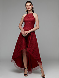 cheap -A-Line Halter Neck Asymmetrical Lace High Low Cocktail Party Dress with Pleats by TS Couture® / Prom