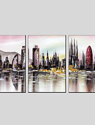 abordables -Peinture à l'huile Hang-peint Peint à la main - Architecture Moderne Toile