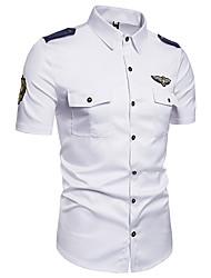 Недорогие -Муж. Вышивка Рубашка Хлопок, Классический воротник Уличный стиль Однотонный Белый / С короткими рукавами