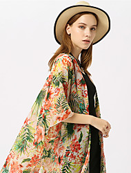 cheap -Women's Basic Off Shoulder Cover-Up - Floral Tropical Leaf, Print Skirt