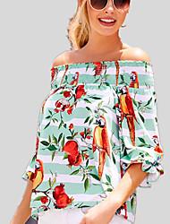 abordables -Tee-shirt Femme, Fleur / Arc-en-ciel - Coton Imprimé Bateau Ample