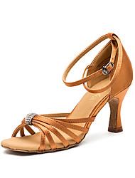 baratos -Mulheres Sapatos de Dança Latina Cetim Têni Salto Carretel Sapatos de Dança Preto / Camel / Amêndoa