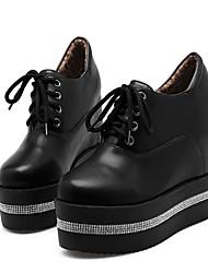 abordables -Femme Chaussures Polyuréthane Automne hiver Bottes à la Mode / Botillons Oxfords Hauteur de semelle compensée Bout rond Bottine / Demi Botte Strass Blanc / Noir