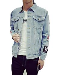 Недорогие -Муж. Джинсовая куртка Рубашечный воротник Современный стиль / Длинный рукав