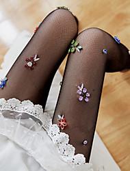 baratos -Mulheres Meias Flor Formação de perna Veludo EU36-EU42
