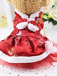 baratos -Roedores / Cachorros / Gatos Vestidos Roupas para Cães Sólido Vermelho Seda Ocasiões Especiais Para animais de estimação Feminino Esporte & lazer / Ano Novo