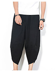 cheap -Men's Exaggerated Plus Size Cotton / Linen Harem Pants - Solid Colored Black & Red, Tassel