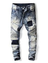 cheap -Men's Street chic Jeans Pants - Color Block Blue & White, Patchwork
