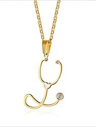 お買い得  -女性用 ロング丈 ストランドネックレス / ネックレス  -  18Kゴールドメッキ, チタン鋼 ゴールド 55.5 cm ネックレス 1個 用途 結婚式, 日常