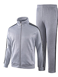 cheap -Men's Long Sleeve Slim Sweatshirt / Activewear Set - Solid Colored / Striped Stand