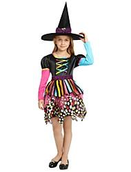 billiga -häxa Kostym Flickor Barn Halloween Jul Halloween Karnival Festival / högtid outfits Regnbåge Enfärgad Halloween
