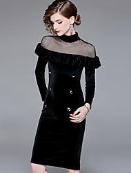 cheap -YHSP Women's Street chic / Sophisticated Sheath / Little Black Dress Split