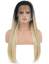 cheap -Synthetic Lace Front Wig Matte Blonde Braid Synthetic Hair Heat Resistant Blonde Wig Women's Long Lace Front / Yes