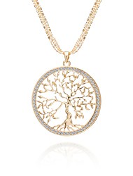 cheap -Women's AAA Cubic Zirconia Cross Body Statement Necklace - Rhinestone Tree of Life Classic, Holiday, Army Gold, Silver, Rose Gold 75 cm Necklace 1pc For Going out, Club