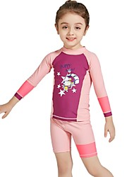 cheap -Girls' Rash Guard Dive Skin Suit UV Sun Protection, Quick Dry, Breathable Nylon / Spandex Long Sleeve Swimwear Beach Wear Sun Shirt Patchwork Surfing / Snorkeling / Water Sports / Stretchy
