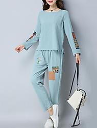 abordables -Mujer Activo / Sofisticado Conjunto - Un Color, Plisado Pantalón