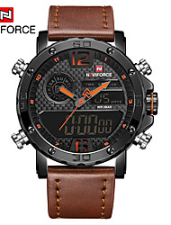 cheap -NAVIFORCE Men's Dress Watch / Wrist Watch Chinese Water Resistant / Water Proof / New Design / LCD Leather Band Casual / Fashion Black / Brown