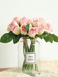 baratos -Flores artificiais 11 Ramo Clássico Casamento / buquês de Noiva Rosas Flor de Mesa