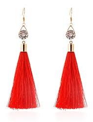 cheap -Women's AAA Cubic Zirconia Tassel / Long Drop Earrings - Stylish, Classic Black / Red For Daily