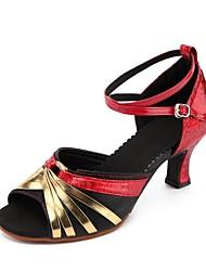 economico -Per donna Scarpe per danza moderna Similpelle Sandali Tacco cubano Personalizzabile Scarpe da ballo Oro / Argento / Nero / Rosso