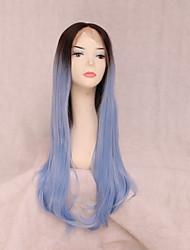 billige -Syntetisk Lace Front Parykker Bølget Frisure i lag Syntetisk hår 24 inch Curler & straightener Blåt Paryk Dame Mellemlængde Blonde Front Sort / Blå / Ja
