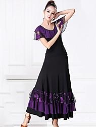 abordables -Danse de Salon Tenue Femme Utilisation Tulle / Fibre de Lait Ruché / Relief Manches Courtes Taille moyenne Jupes / Haut