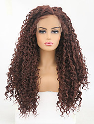 cheap -Synthetic Lace Front Wig Curly Side Part Synthetic Hair Heat Resistant Brown Wig Women's Long Lace Front Wig / Yes