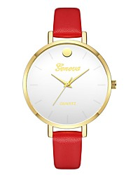 cheap -Geneva Women's Wrist Watch Quartz New Design Casual Watch Cool Leather Band Analog Casual Fashion Red / Brown / Beige - Dark Blue Brown Red One Year Battery Life