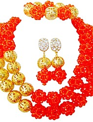 Недорогие -Жен. Многослойность Комплект ювелирных изделий - MOON Мода Включают Струнные ожерелья Зеленый / Синий / Ярко-розовый Назначение Для вечеринок / Повседневные