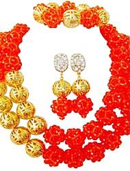 baratos -Mulheres Camadas Conjunto de jóias - Cristal Austríaco MOON Fashion Incluir Strands Necklace Verde / Azul / Rosa Para Festa Diário