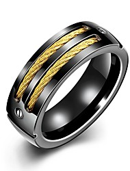 economico -Per uomo Vintage Band Ring - Placcato in oro, Inossidabile Creativo Originale, Vintage 8 / 9 Nero Per Quotidiano / Ufficio