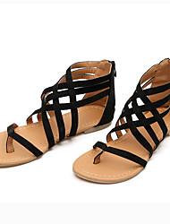baratos -Mulheres Sapatos Camurça Verão Conforto / Rasteirinhas Sandálias Sem Salto Dedo Aberto Preto / Cinzento