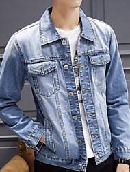 Недорогие -Муж. Джинсовая куртка Винтаж - Однотонный Крупногабаритные