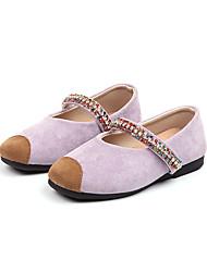 cheap -Girls' Shoes Suede Spring & Summer Comfort / Flower Girl Shoes Flats Walking Shoes Sparkling Glitter for Kids Black / Purple / Pink