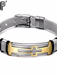 cheap -Men's Braided / Plaited Bracelet - Leather, Stainless Cross Basic, Trendy, Fashion Bracelet Gold / Black For School / Street
