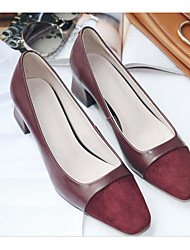 cheap -Women's Shoes Nappa Leather Spring / Fall Comfort / Basic Pump Heels Chunky Heel Light Grey / Burgundy