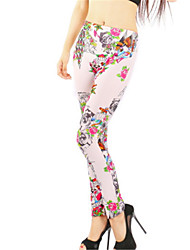 cheap -Women's Basic Legging - Floral, Print Low Waist