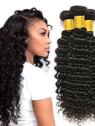 cheap -3 Bundles Indian Hair Deep Wave Unprocessed Human Hair / Human Hair Gifts / Cosplay Suits / Natural Color Hair Weaves / Hair Bulk 8-28 inch Natural Color Human Hair Weaves Creative / Hot Sale / Thick