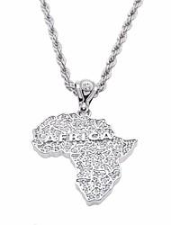 cheap -Men's Cubic Zirconia Stylish / Thick Chain Pendant Necklace / Chain Necklace - Maps, Creative Unique Design, European, Hip-Hop Silver 30 cm Necklace 1pc For Gift, Street