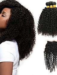 cheap -Peruvian Hair Kinky Curly Gifts / Natural Color Hair Weaves / Tea Party Favors 3 Bundles with Closure 8-20 inch Human Hair Weaves 4x4 Closure New Arrival / Hot Sale / Fashion Natural Color Human Hair