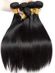 Недорогие -Бразильские волосы Прямой Человека ткет Волосы / Удлинитель 6 Связок 8-28 дюймовый Ткет человеческих волос Машинное плетение Горячая распродажа / 100% девственница Черный Расширения человеческих волос