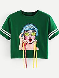 baratos -Mulheres Camiseta - Para Noite Sólido / Retrato Algodão Solto