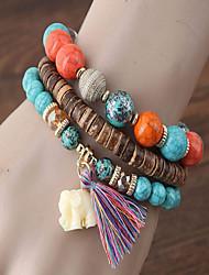 cheap -Women's Turquoise Layered / Vintage Style Strand Bracelet / Bracelet - Elephant, Creative Bohemian, Casual / Sporty, Fashion Bracelet Black / Rainbow / Red For Going out / Bar / 3pcs