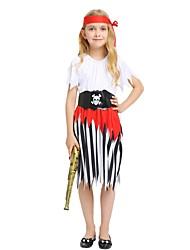 baratos -Pirata Roupa Para Meninas Dia Das Bruxas / Carnaval / Dia da Criança Festival / Celebração Trajes da Noite das Bruxas Branco Sólido / Listrado / Halloween Dia Das Bruxas